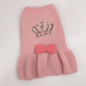 Top Paw Pink Crown Dog Knit Sweater Dress Med